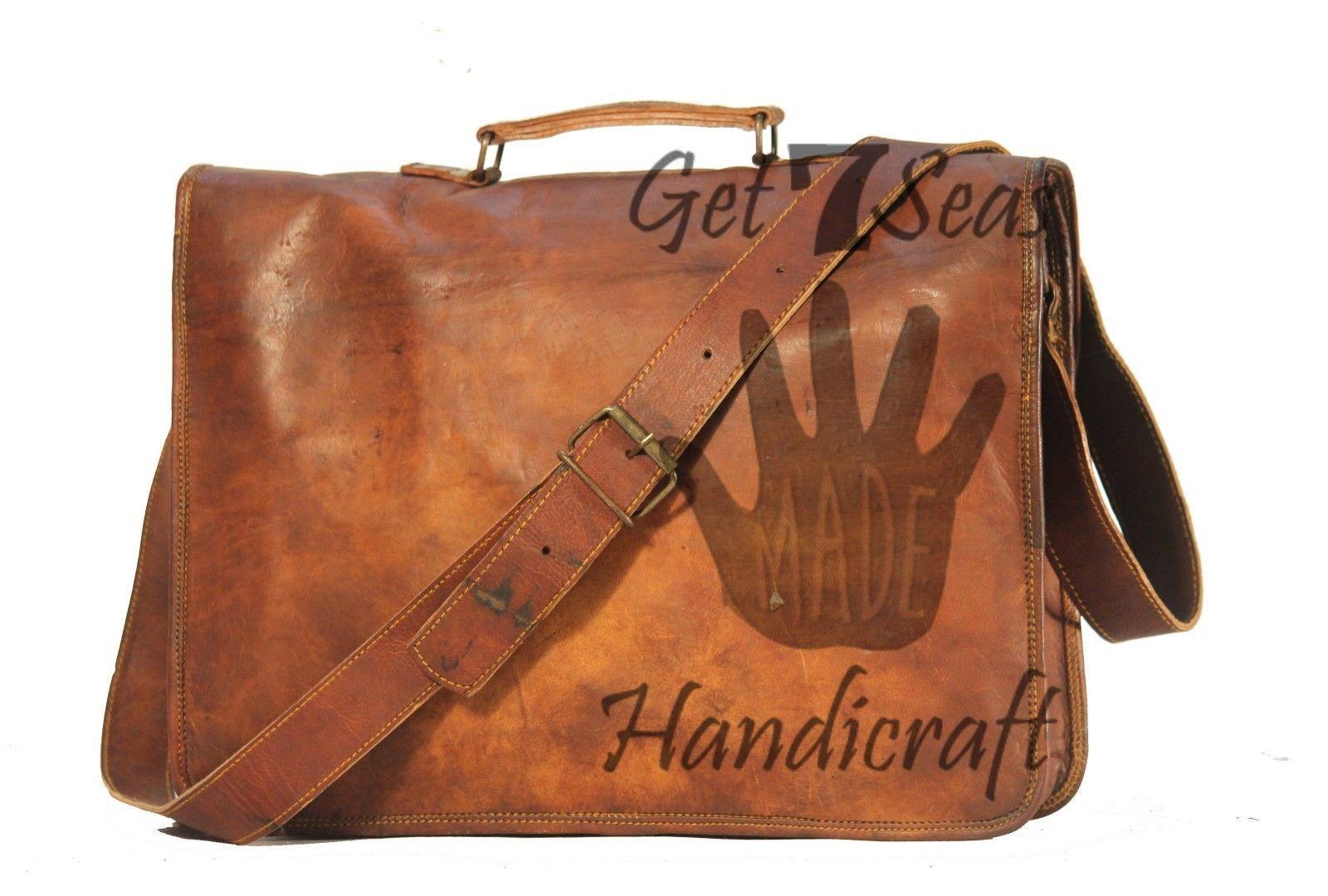 Leather computer bag men's shoulder laptop women briefcase vintage messenger image 3