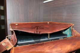 Leather satchel men's shoulder laptop women messenger men briefcase  brown bags image 5