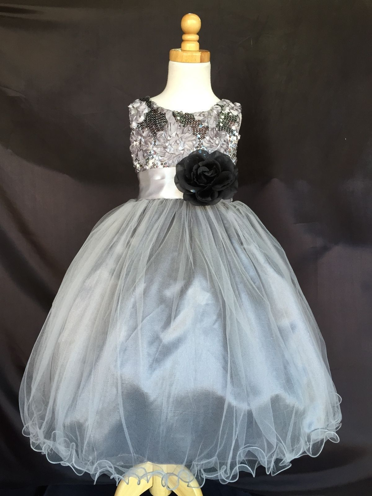 Charcoal NEW Flower Girl Bridesmaids Summer FL Sequence Toddler Girl Dress #18