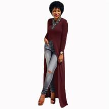 Dress Plus Size Cotton O-Neck Long Sleeve Split Long Maxi Dress Size XL - $22.61