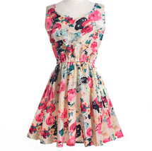 Women's Dress Sexy Flower Print Slim Mini Dress Women Casual Size XL - $7.05