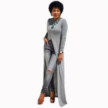 Dress Plus Size Cotton O-Neck Long Sleeve Split Long Maxi Dress Size L - $22.61