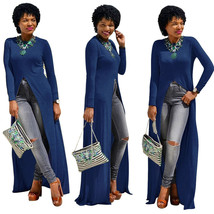 Dress Plus Size Cotton O-Neck Long Sleeve Split Long Maxi Dress Size S - $22.61