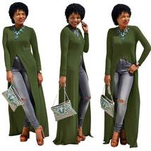 Dress Plus Size Cotton O-Neck Long Sleeve Split Long Maxi Dress Size XXL - $22.61