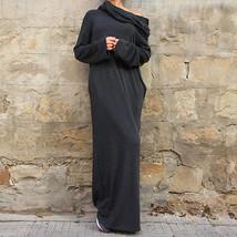 Sexy Women Dress Vestidos Off Shoulder Hooded Shirt Maxi Size L - $38.23