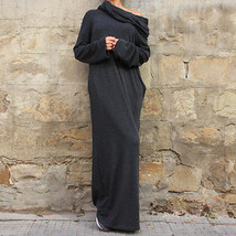 Sexy Women Dress Vestidos Off Shoulder Hooded Shirt Maxi Size M - $38.23