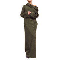 Sexy Women Dress Vestidos Off Shoulder Hooded Shirt Maxi Size L - $38.23