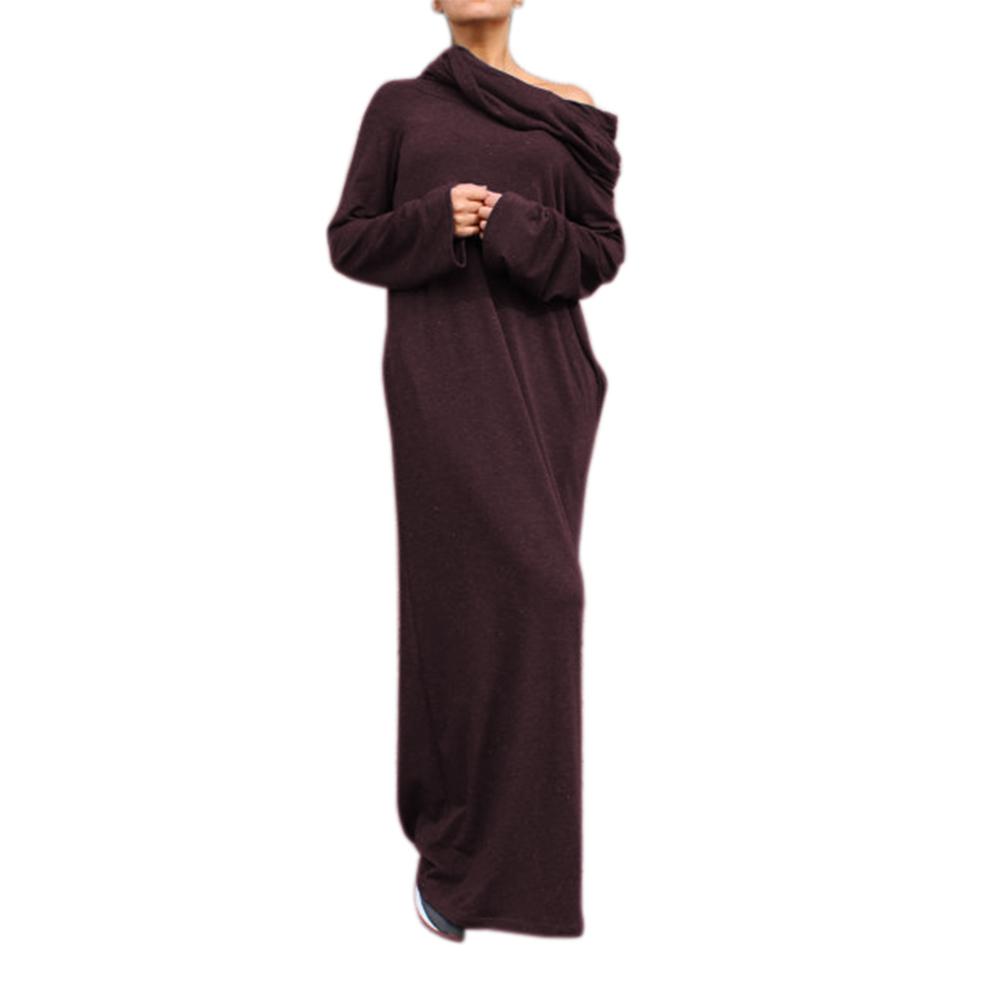 Lf dresses new sexy women dress vestidos off shoulder hooded shirt maxi long party casual autumn