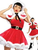 Sexy Christmas Costume Red Velvet Skater Dress In 4 Piece Set - $30.39