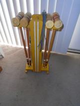 Vintage Wood Croquet Set mallets balls wickets cart - $59.99