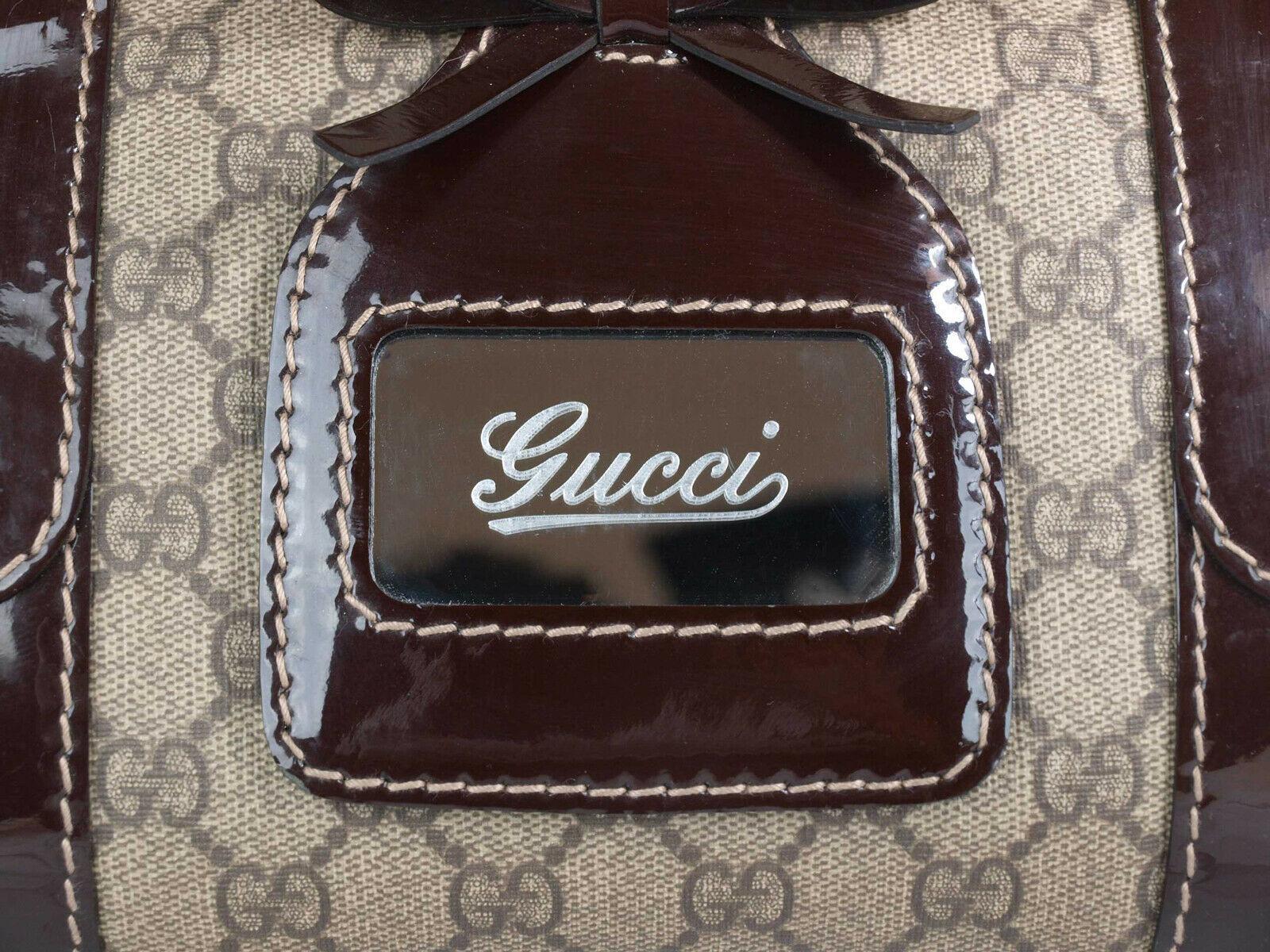 GUCCI GG Web PVC Canvas Patent Leather Browns Shoulder Bag GS2242 image 2