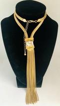 Herringbone Gold Tone & Clear Crystal Chain Tassel Pendant Necklace - £19.35 GBP