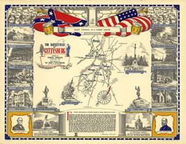 Battlefield of Gettysburg 1863 Military Civil War Map Art Poster Historic Battle - $13.00+