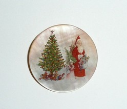 Victorian Santa Claus w/ Girls on Mother of Pearl Button - MOP Button 1-... - $11.39