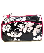 Makeup Travel Bag with Mirror White Flowers Black Pink Trim 7 x 10 inches - $12.86
