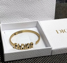 AUTH Christian Dior 2019 J'ADIOR AGED GOLD BRACELET CUFF BANGLE image 4