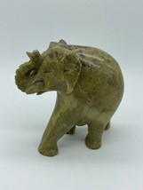 """Hand Carved Light Brown Green Stone Elephant Figurine Carving 3"""" - $14.00"""
