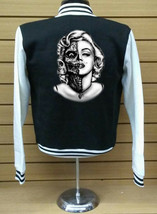 Marlyn Zombie Letterman Varsity Baseball BLACK/WHITE Fleece Jacket - $29.99