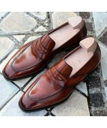 New Handmade Men's Dress formal Loafers Brown leather high quality bespo... - $159.99+