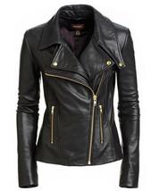 Black Women's Slim Fit Biker Style Real Leather Jacket - FR - $103.99