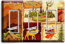 Hunting Cabin Fishing Moose Patchwork 3 Gfci Light Switch Wall Plates Room Decor - $18.99