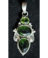 Beautiful - Large 3 Peridot and Sterling Silver Pendant - $42.00
