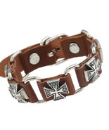 Brown Black Punk Style Cross Bracelet Leather Charm Bracelets Bangles fo... - $12.90