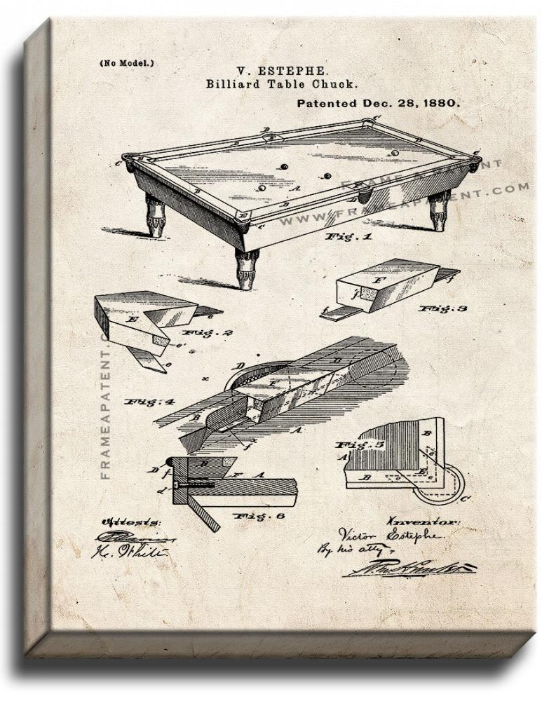 Primary image for Billiard Table Patent Print Old Look on Canvas