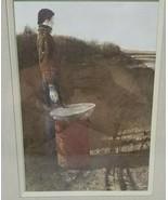 "Winter Road Work Construction Barrel Watercolor Framed 16.5"" x 19.5"" - $49.49"