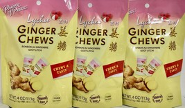 Prince of Peace Ginger Chews Candy with Lychee 4 oz ( Pack of 3 ) - $17.81