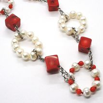 Silver necklace 925, Circles pearls and coral Alternating, Coral cubes image 3