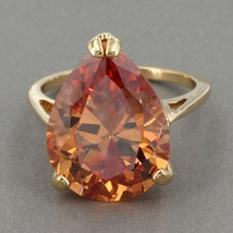 Uncas Gold Clad Sterling HUGE Pear Cognac CZ Solitaire Cocktail Ring Sz ... - $17.99