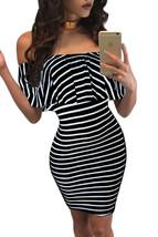 White Black Striped Off-shoulder Bodycon Dress - $7.60