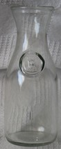 """Embossed Since 1852 Glass Wine Milk Juice Carafe 7 3/4"""" Tall 16 Ounces - $12.99"""