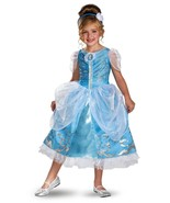 Disney Cinderella Princess Sparkle Deluxe Polyester Girls Costume Blue/W... - $39.99