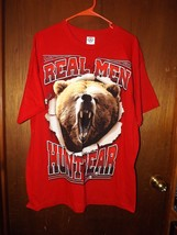 """NWT NEW Mens Delta Pro Weight Red """"Real Men Hunt Bear"""" T-Shirt - Large - $12.34"""