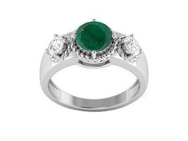 Party wear Classic Jewelry Solid Emerald Gemstone Sterling Ring Sz 7 SHR... - £27.30 GBP