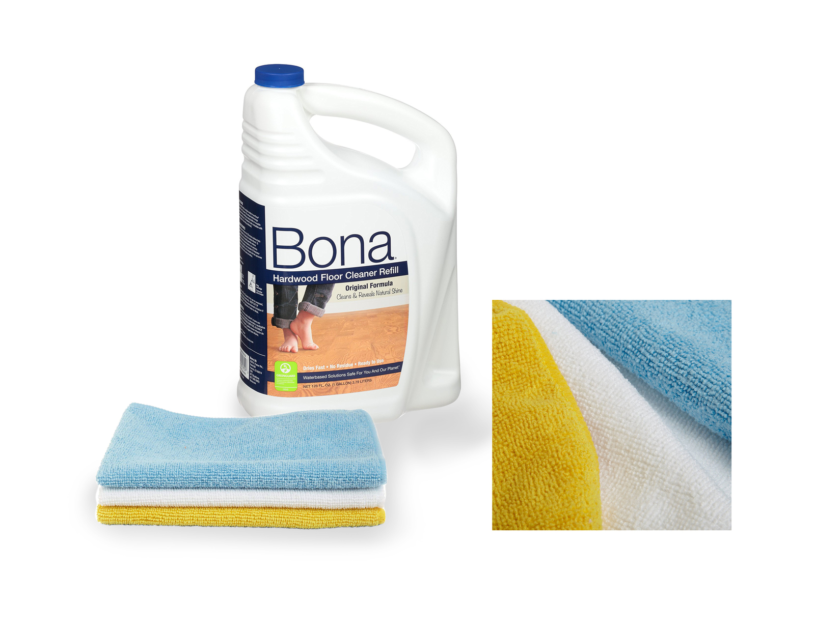 Bona 128 oz front with three microfiber