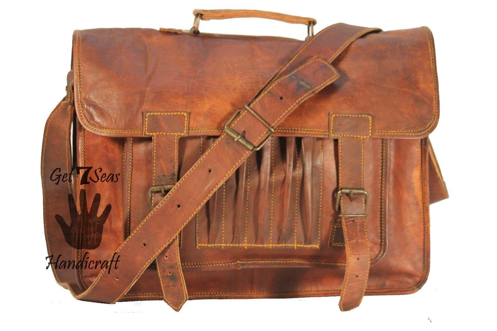Leather computer bag men's shoulder laptop women briefcase vintage messenger image 5