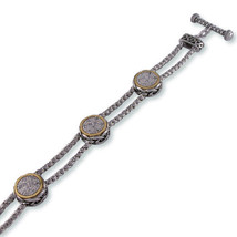 MICRO PAVE ANTIQUE CLEAR CUBIC ZIRCONIA TOGGLE BRACELET - $69.29