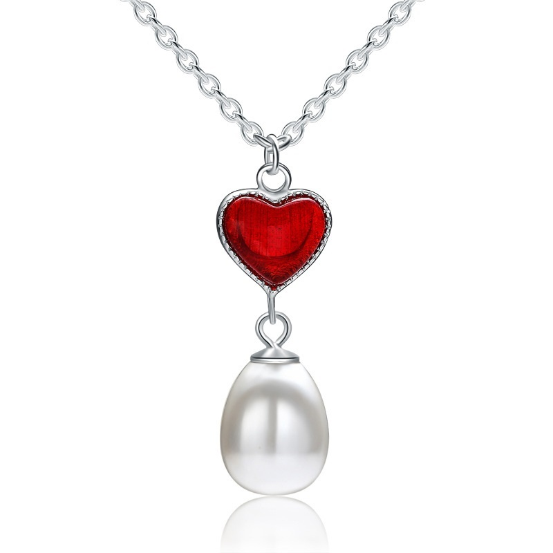 Sterling Silver Necklace Heart Shaped Garnet and Pearl Pendant Silver Jewellery - $13.99