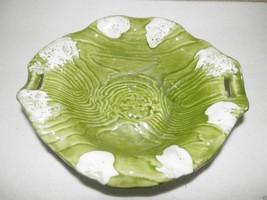 Vtg California Pottery Green Tree Relish Chip 'n Dip Bowl B412 USA Woodg... - $12.87