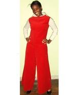 Coolest 60's Vintage Mod Red Velvet Jumpsuit - $39.00
