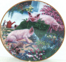Pigs in Bloom Hogs Sqealbarrow Collector Plate Danbury Mint Pig Retired - $59.95