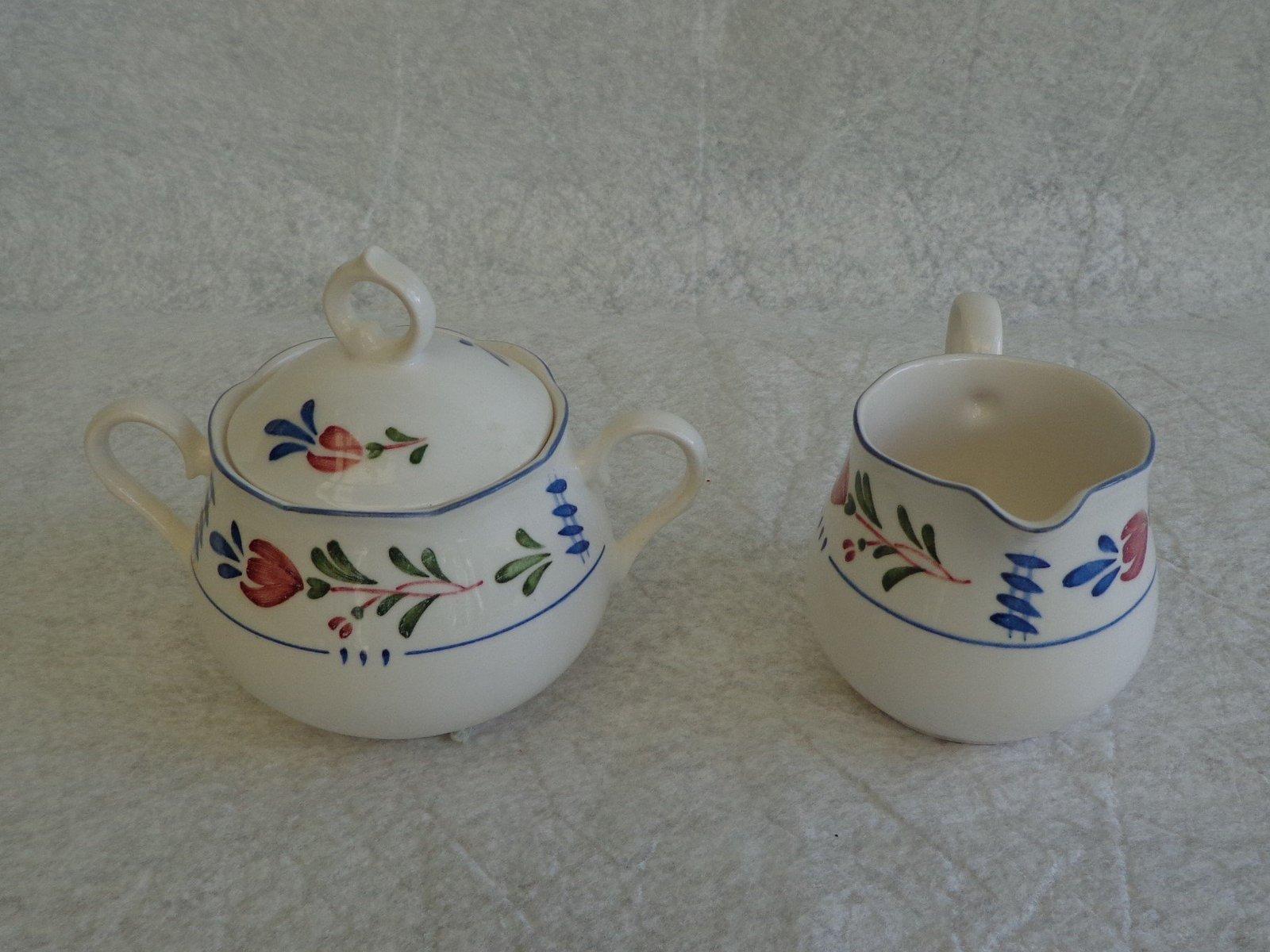 Nikko Provincial Avondale Pattern Creamer & Sugar Bowl w/ Lid Set Red & Blue Flo