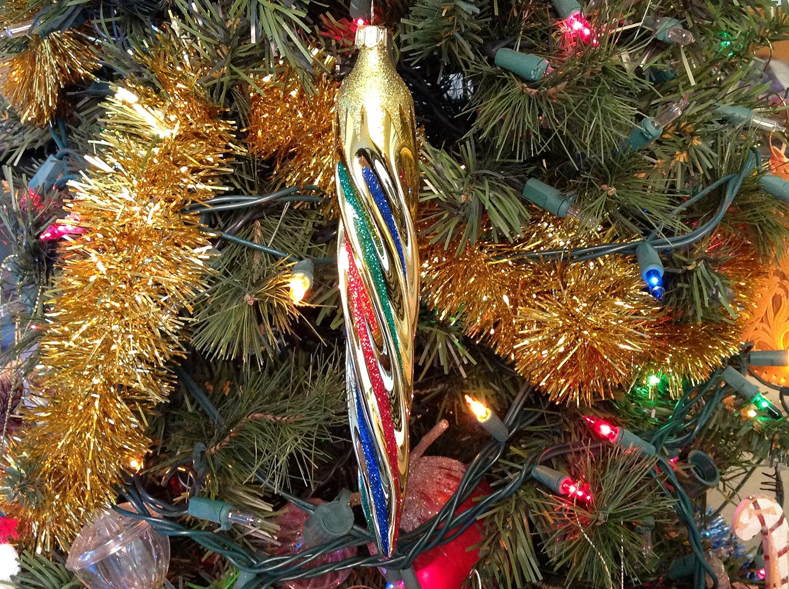 Large Gold Icicle with Multi Colors Hand Painted Glass Ornament