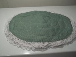 4 lacemats  green an white check ,15 x13 lace  4 Placemats white lace  w... - $10.88