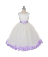 Ivory Dress Lilac Sash and Flower Petals Bridesmaid Pageant Flower Girl ... - $48.00+