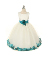 Ivory Dress Teal Sash and Flower Petals Bridesmaid Pageant Prom Girl Dress - $48.00+