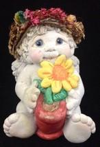 Vtg 1994 Dreamsicles Sunflower Cherub Holding Flower Pot Cast Art DC221 ... - $9.84